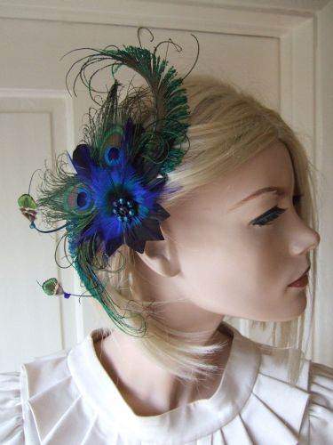 "Natural Green Blue Peacock Feathers Quills Fascinator Hair Clip ""April"" Wedding Mother of the Bride"